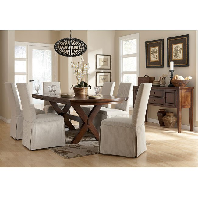Slipcovers Ashley Furniture: Burkesville Dining Room Set W/ Striped Slipcover Chairs