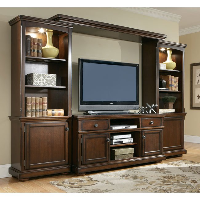 Porter large entertainment wall signature design by ashley Entertainment living room furniture