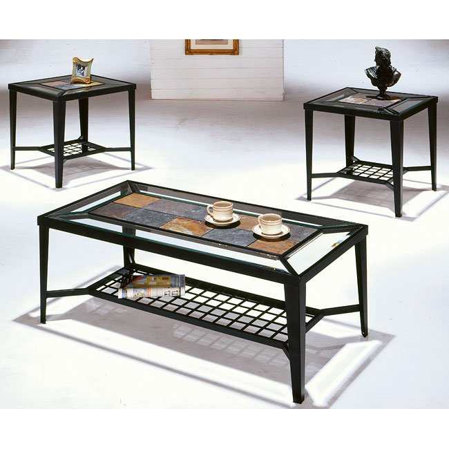 Ashley Mallacar Piece Coffee Table Set In Black T: Slate And Glass 3-Piece Occasional Table Set World Imports
